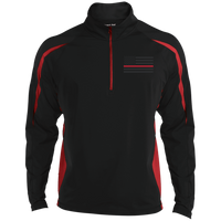 Thin Red Line Black Ops Half Zip Performance Pullover Jackets CustomCat Black/True Red X-Small