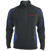 Thin Red Line Black Ops Half Zip Performance Pullover Jackets CustomCat Charcoal/True Royal X-Small