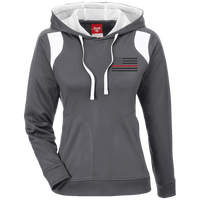 Thin Red Line Black Ops Ladies Performance Hoodie Sweatshirts CustomCat Graphite/White X-Small