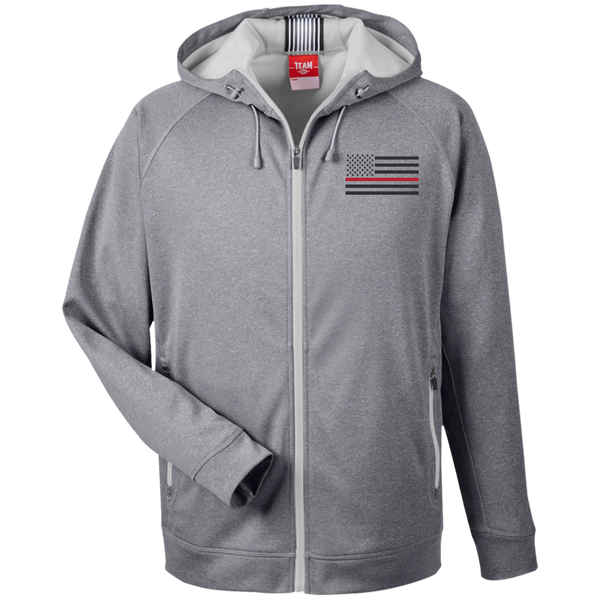 Thin Red Line Black Ops Performance Zip Up Hoodie Sweatshirts CustomCat Athletic Heather/Silver X-Small