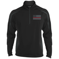 Thin Red Line Delta Ops Performance Half Zip Pullover Jackets CustomCat Black/Charcoal Grey X-Small