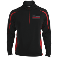 Thin Red Line Delta Ops Performance Half Zip Pullover Jackets CustomCat Black/True Red X-Small