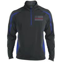 Thin Red Line Delta Ops Performance Half Zip Pullover Jackets CustomCat Charcoal/True Royal X-Small