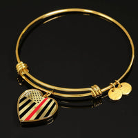 Thin Red Line Engravable Heart Bangle - Silver or Gold Jewelry ShineOn Fulfillment
