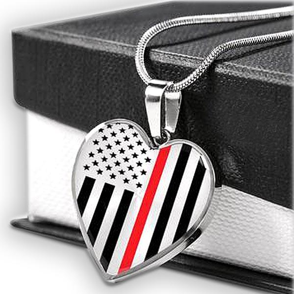 Thin Red Line Engravable Heart Necklace Jewelry ShineOn Fulfillment