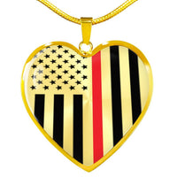 Thin Red Line Engravable Heart Necklace Jewelry ShineOn Fulfillment Luxury Necklace (Gold) No