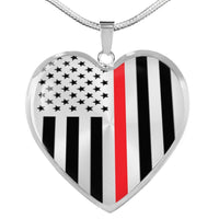 Thin Red Line Engravable Heart Necklace Jewelry ShineOn Fulfillment Luxury Necklace (Silver) No