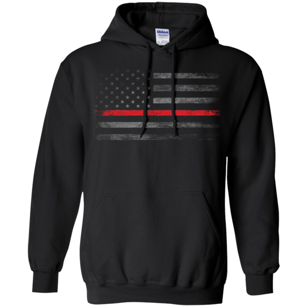 Thin Red Line Hoodie Sweatshirts CustomCat Black Small