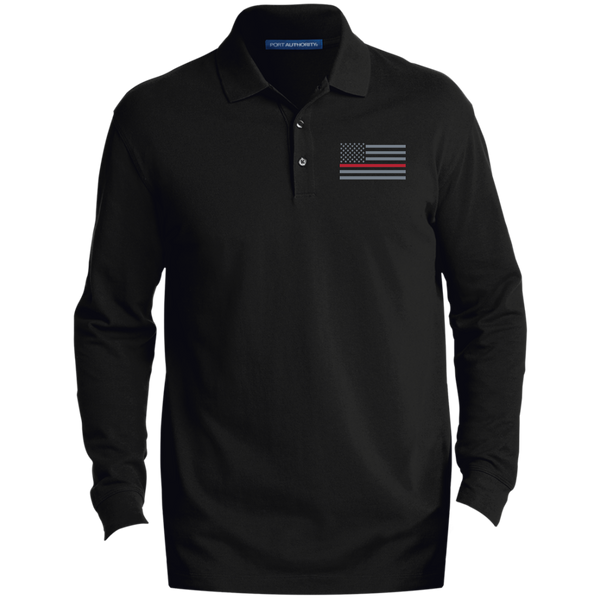 Thin Red Line Long-Sleeve Polo Polo Shirts Black/ X-Small