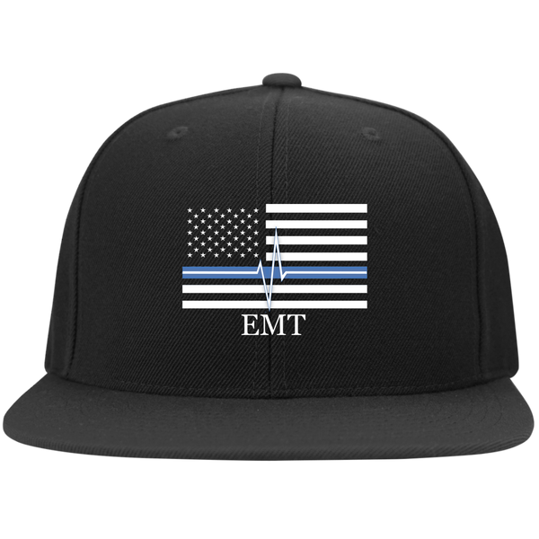 Thin White Line EMT Flat Bill Flexfit Hat Hats Black S/M