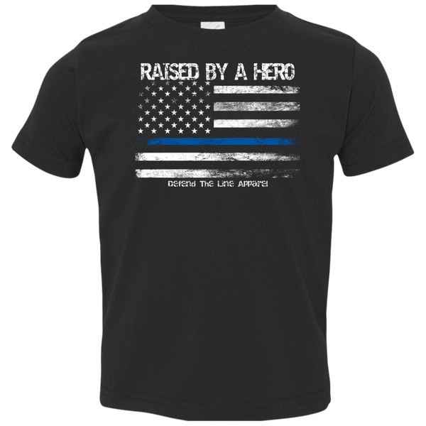 Toddler 2T-5/6 Raised By a Hero T-Shirts CustomCat Black 2T