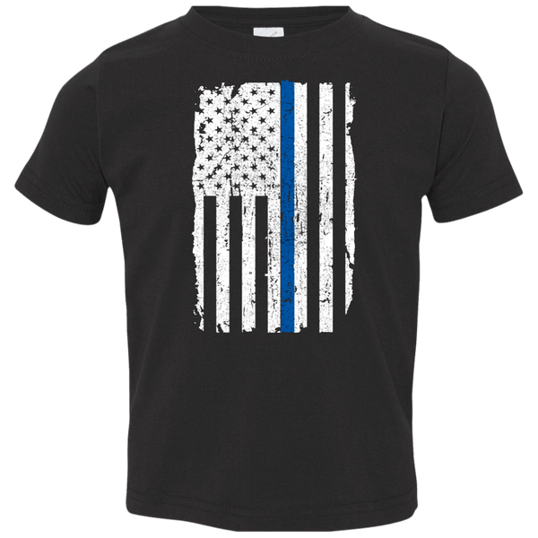 Toddler Thin Blue Line Shirt T-Shirts CustomCat Black 2T