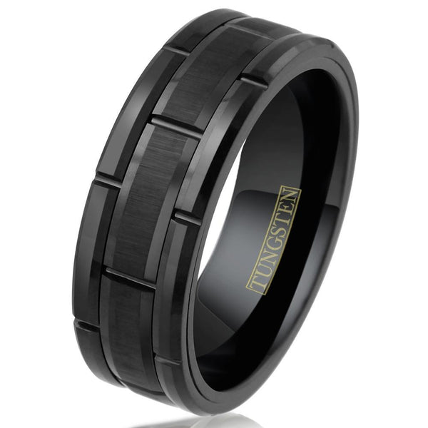 Tungsten Midnight Engravable Ring Ring 9 Yes