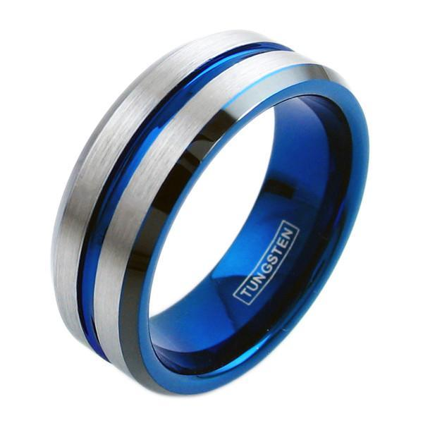 Tungsten Thin Blue Line Silver Engravable Ring