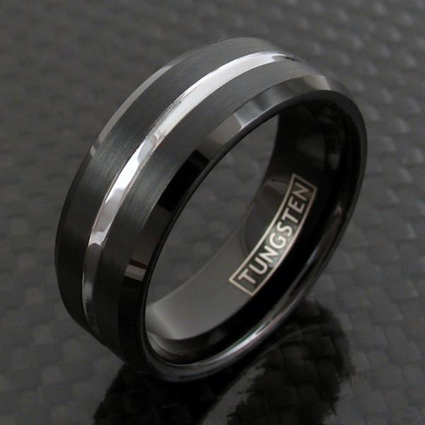 Tungsten Thin Gray Line Corrections Engravable Ring Ring 5 No