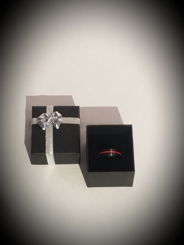 Tungsten Thin Red Line Engravable Ring Ring