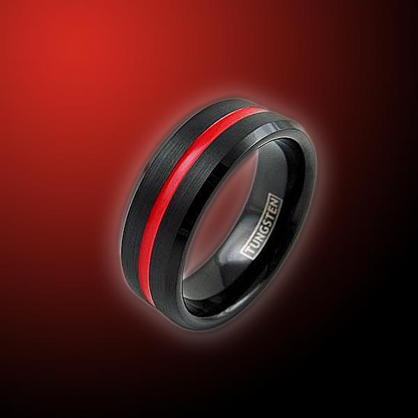 Tungsten Thin Red Line Engravable Ring Ring Defend The Line Apparel