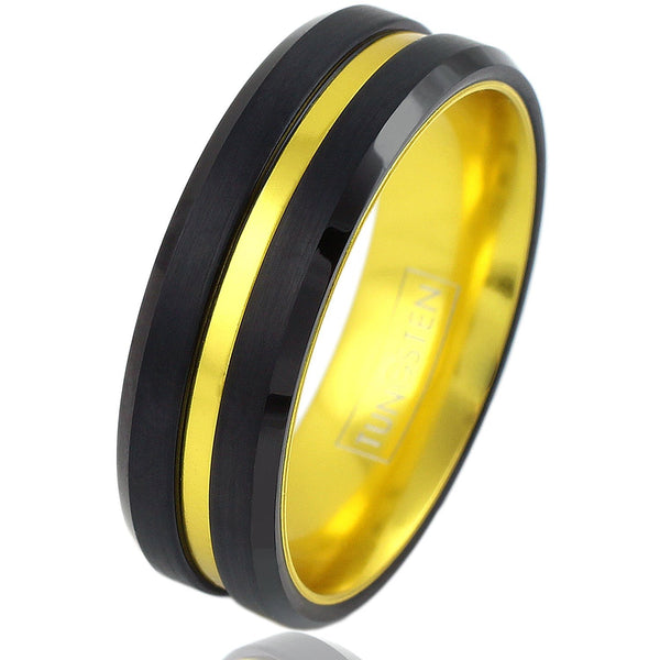 Tungsten Thin Yellow Line Dispatcher Engravable Ring Ring 5 No