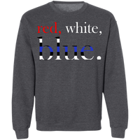 Unisex Red, White and Blue Crewneck Sweatshirts Dark Heather S