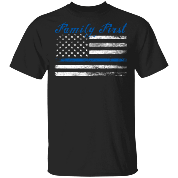 Unisex Thin Blue Line Family First T-Shirt T-Shirts Black S