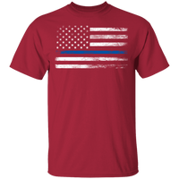 Unisex Thin Blue Line White Faded Flag T-Shirt T-Shirts Cardinal S