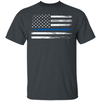 Unisex Thin Blue Line White Faded Flag T-Shirt T-Shirts Dark Heather S
