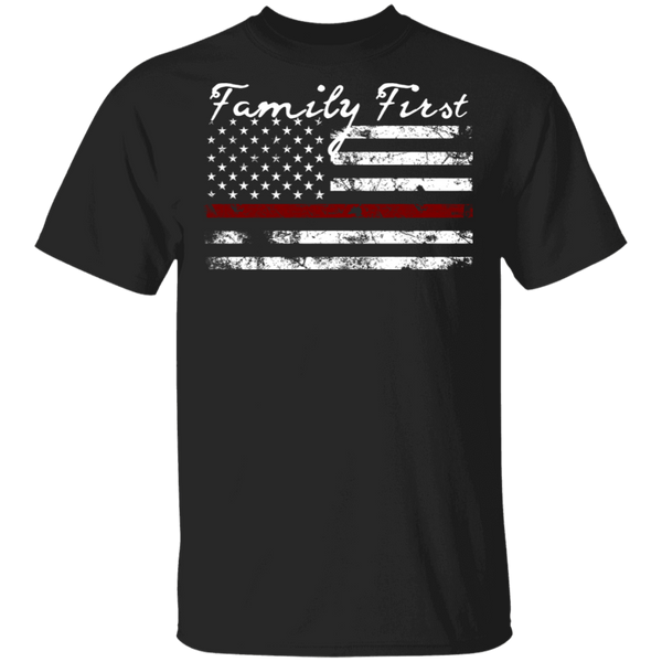 Unisex Thin Red Line Family First T-Shirt T-Shirts Black S