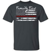 Unisex Thin Red Line Family First T-Shirt T-Shirts Dark Heather S