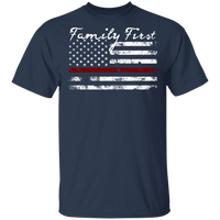 Unisex Thin Red Line Family First T-Shirt T-Shirts Navy S