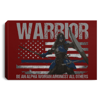 "Warrior - Be An Alpha Woman Thin Blue Line Canvas Housewares Maroon 18"" x 12"""