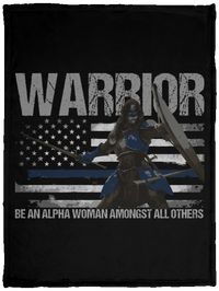 Warrior - Be An Alpha Woman Thin Blue Line Fleece Blanket Blankets Black One Size