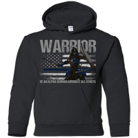 Warrior - Be An Alpha Woman Thin Blue Line Youth Hoodie Sweatshirts Black YS