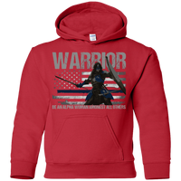 Warrior - Be An Alpha Woman Thin Blue Line Youth Hoodie Sweatshirts Red YS