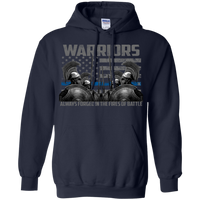 Warriors Always Forged In The Fire Hoodie 8 oz. Sweatshirts CustomCat Navy S