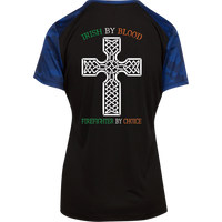 Women's Double Sided Irish by Blood Firefighter Athletic Shirt T-Shirts