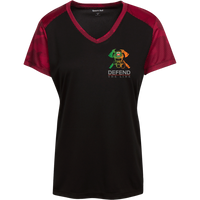 Women's Double Sided Irish by Blood Firefighter Athletic Shirt T-Shirts Black/Deep Red X-Small