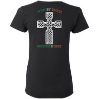 Women's Double Sided Irish by Blood Firefighter T-Shirt T-Shirts