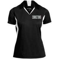Women's Embroidered Corrections Colorblock Performance Polo Polo Shirts Black/White X-Small
