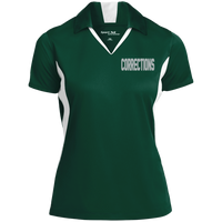 Women's Embroidered Corrections Colorblock Performance Polo Polo Shirts Forest Green/White X-Small