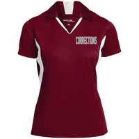Women's Embroidered Corrections Colorblock Performance Polo Polo Shirts Maroon/White X-Small