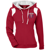 Women's Embroidered Dispatch Colorblock Hoodie Sweatshirts Scarlet Red/White X-Small