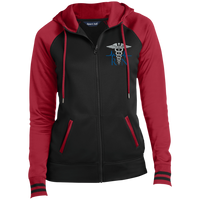Women's Embroidered RN Full-Zip Hooded Jacket Jackets Black/Deep Red X-Small