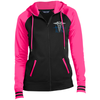 Women's Embroidered RN Full-Zip Hooded Jacket Jackets Black/Neon Pink X-Small