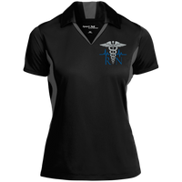 Women's Nurse Embroidered Caduceus Colorblock Performance Polo Polo Shirts Black/Iron Grey X-Small