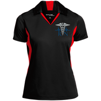 Women's Nurse Embroidered Caduceus Colorblock Performance Polo Polo Shirts Black/True Red X-Small