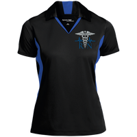 Women's Nurse Embroidered Caduceus Colorblock Performance Polo Polo Shirts Black/True Royal X-Small