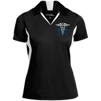 Women's Nurse Embroidered Caduceus Colorblock Performance Polo Polo Shirts Black/White X-Small