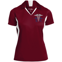 Women's Nurse Embroidered Caduceus Colorblock Performance Polo Polo Shirts Maroon/White X-Small
