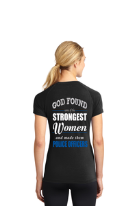 "Women's Punisher Logo ""God Found The Strongest Women and Made them Police Officers"" Athletic Shirt T-Shirts"