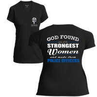 "Women's Punisher Logo ""God Found The Strongest Women and Made them Police Officers"" Athletic Shirt T-Shirts Black X-Small"